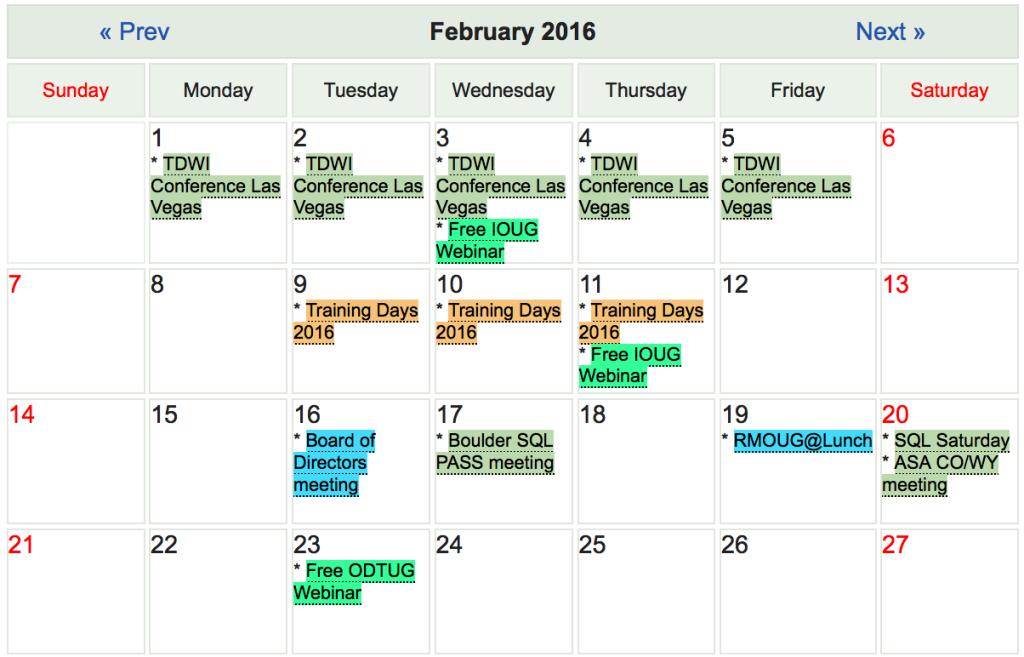 RMOUG calendar page